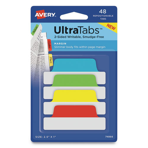 Avery® ULTRA TABS REPOSITIONABLE TABS, 2 1/2W X 1H, BLUE/GREEN/RED/YELLOW, 48/PK