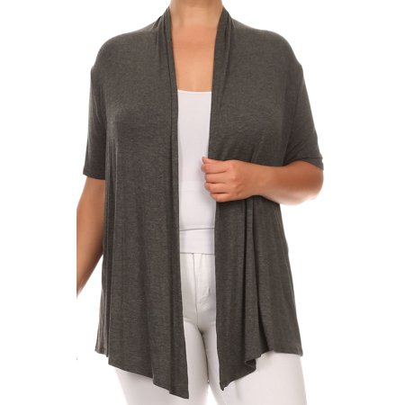 BNY Corner Women Plus Size Short Sleeve Cardigan Open Front Casual Cover Up Gray 1X 433 (Plus Gravy)