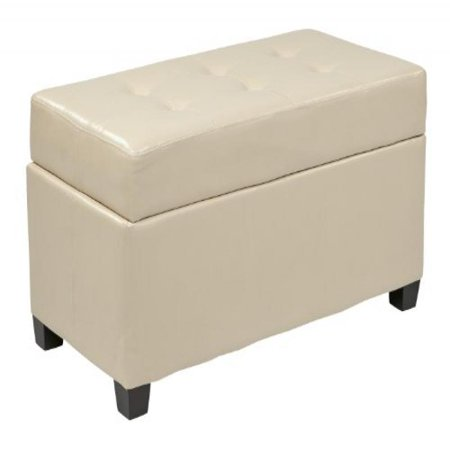 Office Star Products Designs Metro Storage Ottoman, Cream, Faux Leather