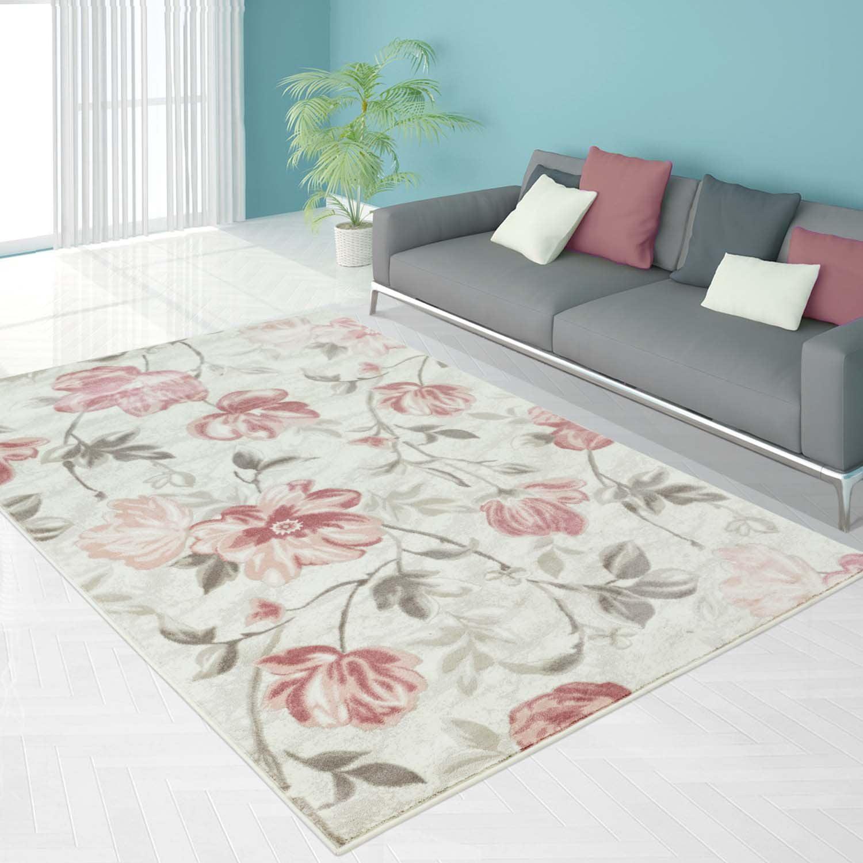 Ladole Rugs Begonia Floral Contemporary Area Rug Carpet In