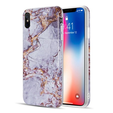 huge selection of e6047 66aea Insten Marble TPU Rubber Candy Skin Case Cover For Apple iPhone XS Max -  Gray/Gold