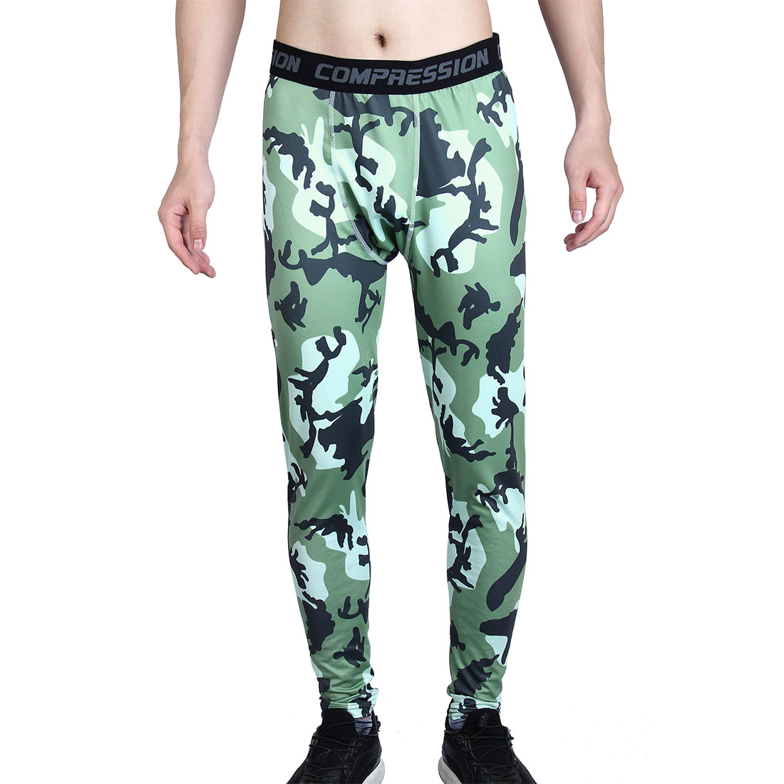 Men Polyester Fiber Compression Base Layer Pants Army Green Camouflage L US W28 by