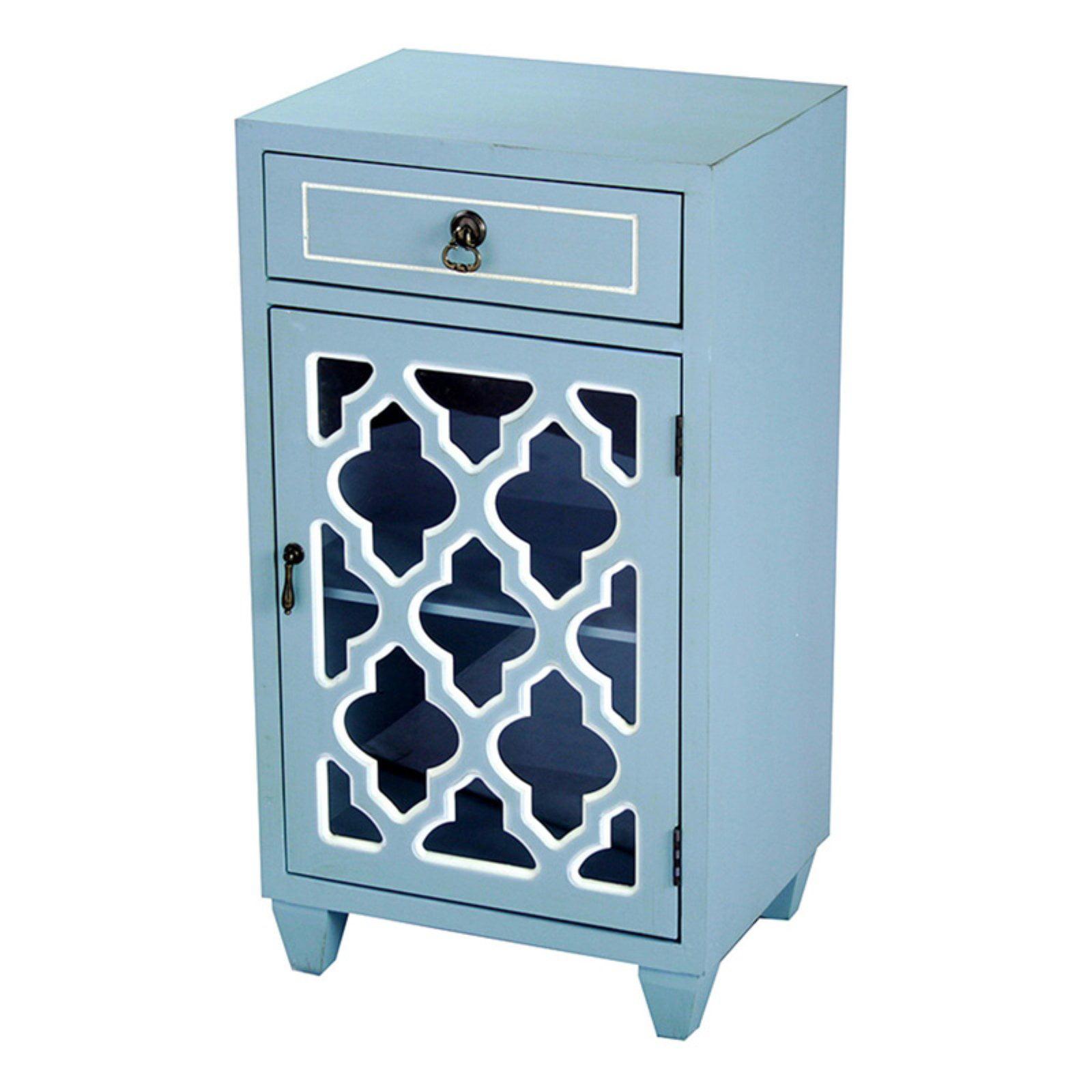 Heather Ann Creations Aria 1 Drawer 1 Door Arabesque Glass Accent Cabinet