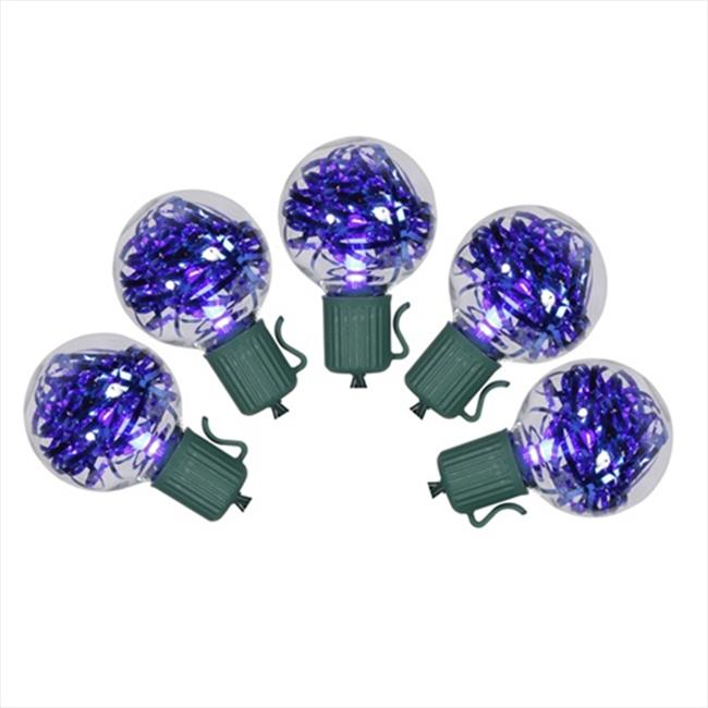 NorthLight Cobalt Blue LED G40 Tinsel Christmas Lights, Green Wire, Set Of 25