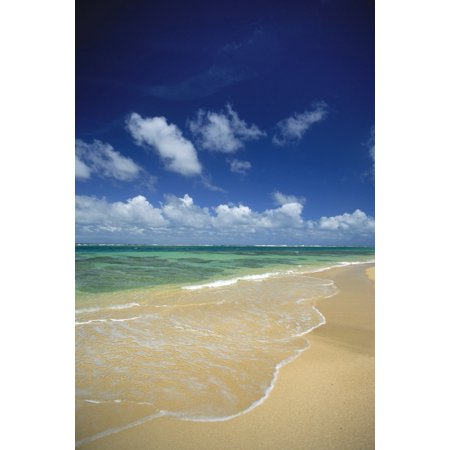 Hawaii Kauai North Shore Clear Shoreline Sand At Haena Beach A32A Stretched Canvas - Greg Vaughn  Design Pics (12 x