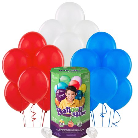 Helium Tank with Red, White, and Blue Balloons (Red Heart Helium Balloons)
