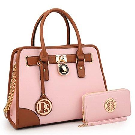 a36b2efd33da Dasein - Dasein Women s Designer Handbags Padlock Belted Satchel Bags Top  Handle Handbag Purse Shoulder Bag w  Matching Wallet - Walmart.com