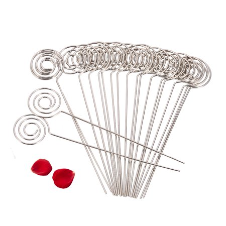 50/Pack Place Card Holder Pick,Ring Loop Swirl Wire Clip Photo Metal Clamp For DIY Craft & Gift Making,Note Memo Holder(Silver) - Diy Place Cards