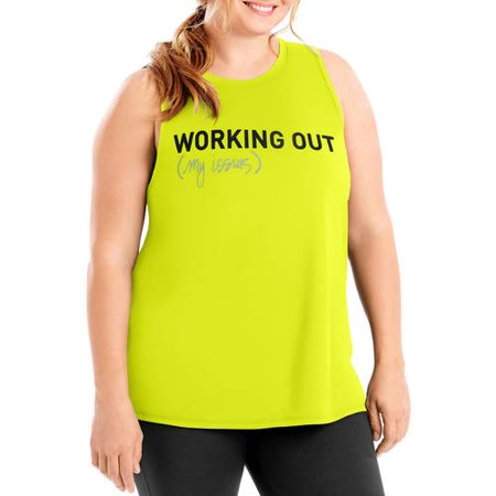 Just My Size Womens Plus Active Graphic Muscle Tank
