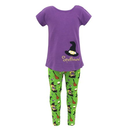 Girls Spellbound Halloween Witch Shirt Legging Outfit (7)