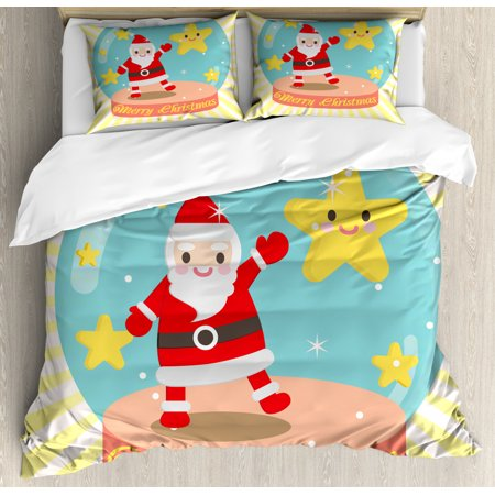 Christmas Duvet Cover Set, Happy Dancing Santa and Smiling Star in a Snow Globe on Yellow Striped Rays, Decorative Bedding Set with Pillow Shams, Multicolor, by Ambesonne ()
