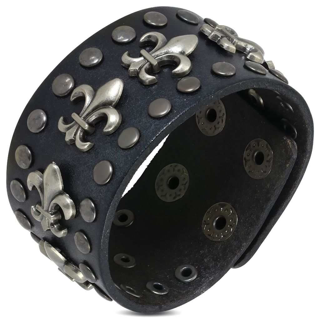 Genuine Black Leather Fleur De Lis Flower Stud Snap Wristband Bracelet