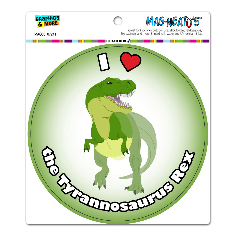 I Love Heart the Tyrannosaurus Rex - T-rex Dinosaur Circle MAG-NEATO'S(TM) Car/Refrigerator Magnet