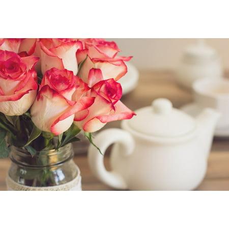 LAMINATED POSTER Roses Teapot Tea Party Shabby Chic Bouquet Poster Print 24 x 36 - Shabby Chic Party Ideas