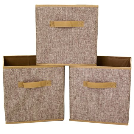 cube storage bins collapsible fabric linen 3 pieces. Black Bedroom Furniture Sets. Home Design Ideas
