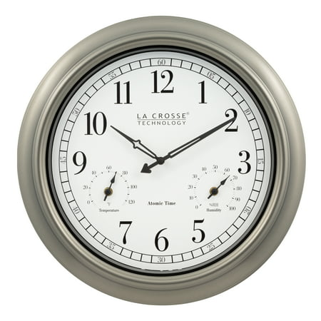 La Crosse Technology 404-1946 18-Inch Indoor/Outdoor Classic Plastic Pewter Atomic Analog Clock Classic Pewter Outdoor Wall