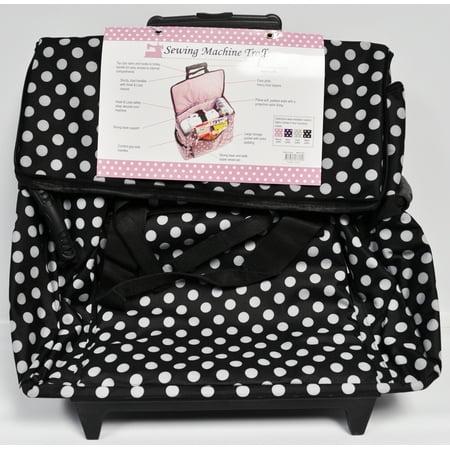 Sewing Machine Trolley Black and White Polka Dot ()