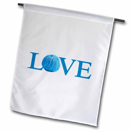 3Drose Love Knitting   Blue Text With Ball Of Yarn Wool   Knit Knitter Fan  Garden Flag  12 By 18 Inch