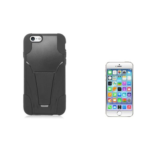 Insten Hard Hybrid Plastic 2-Layer Case with stand For iPhone 6/6s - Black (+ Clear Tempered Glass Protector)