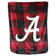Alabama Crimson Tide Plaid Design Raschel Throw Blanket
