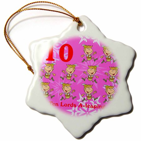 3dRose 12 Days Of Christmas Ten Lords A-leaping..., Snowflake Ornament, Porcelain,
