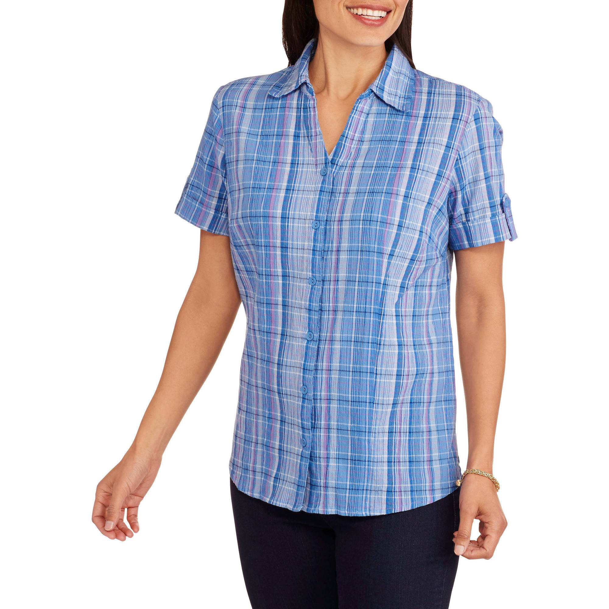 White Stag Women's Crinkle Woven Camp Shirt