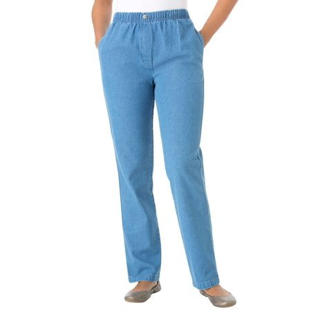 Woman Within Plus Size Petite Elastic-waist Cotton Straight Leg Pant