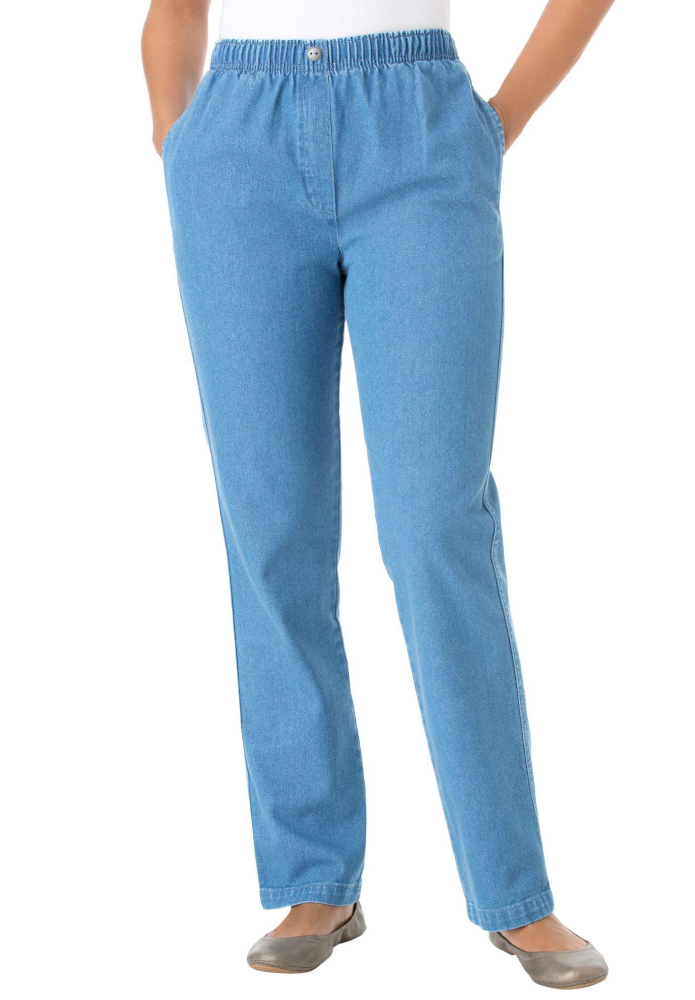 Woman Within Plus Size Petite Elastic-waist Cotton Straight Leg Pant
