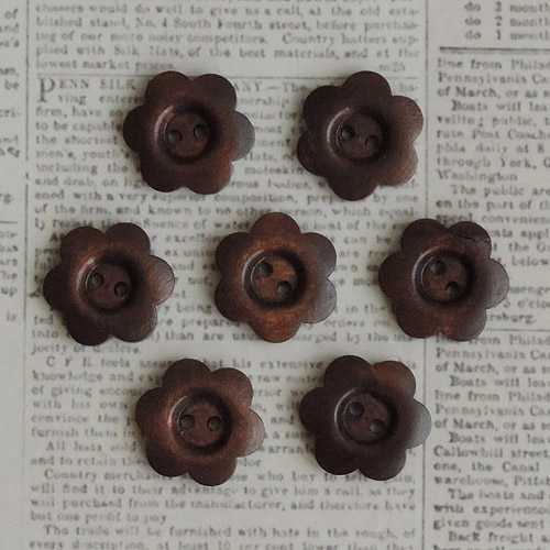 Wooden Shapes, 7pk, Stained Flower Buttons, 1""