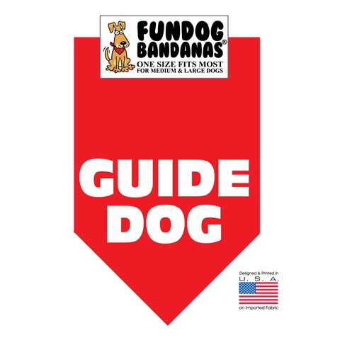 Fun Dog Bandana - Guide Dog - One Size Fits Most for Med to Lg Dogs, red pet scarf