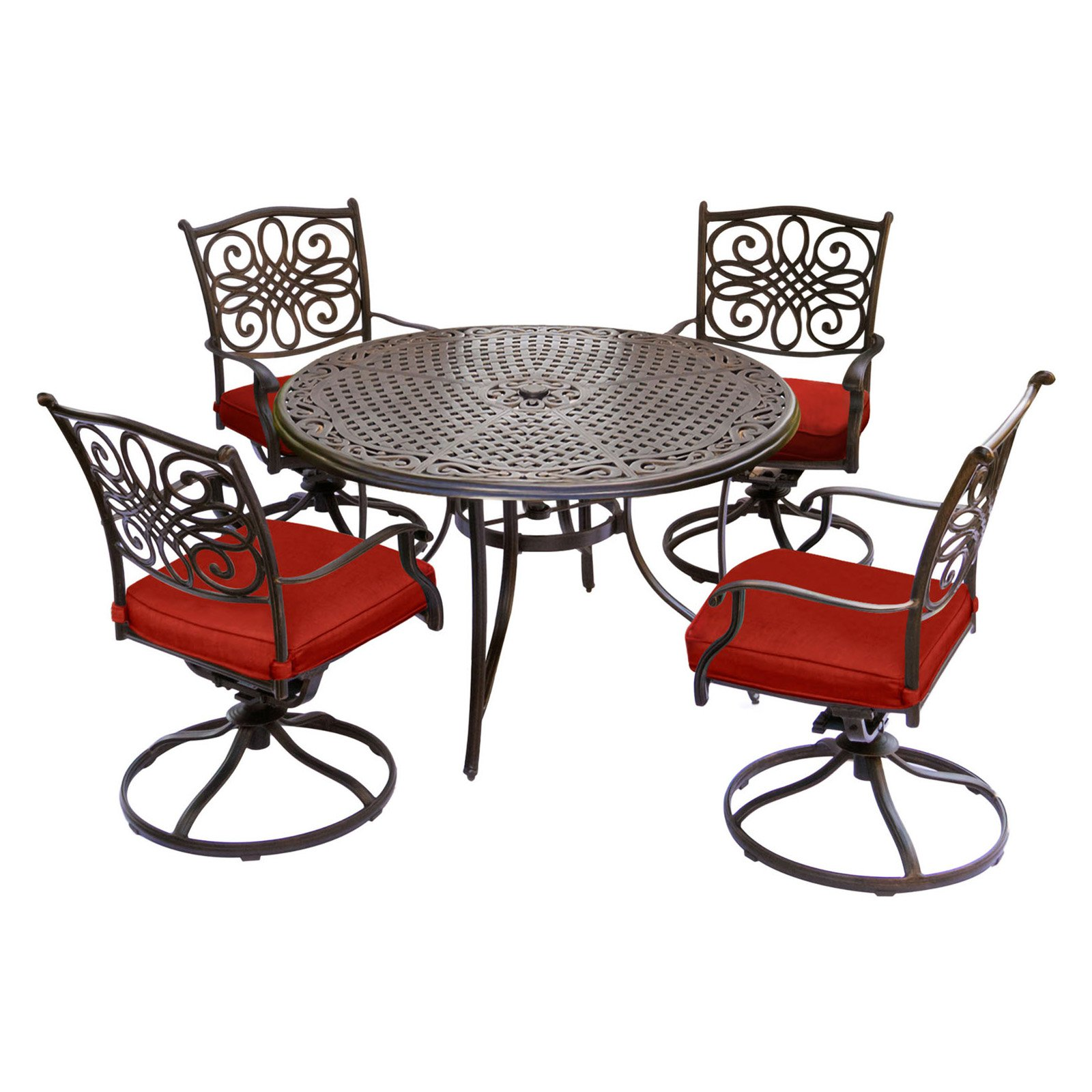 Hanover Traditions 5-Piece Outdoor Dining Set with Round Cast-Top Table and 4 Swivel Rockers