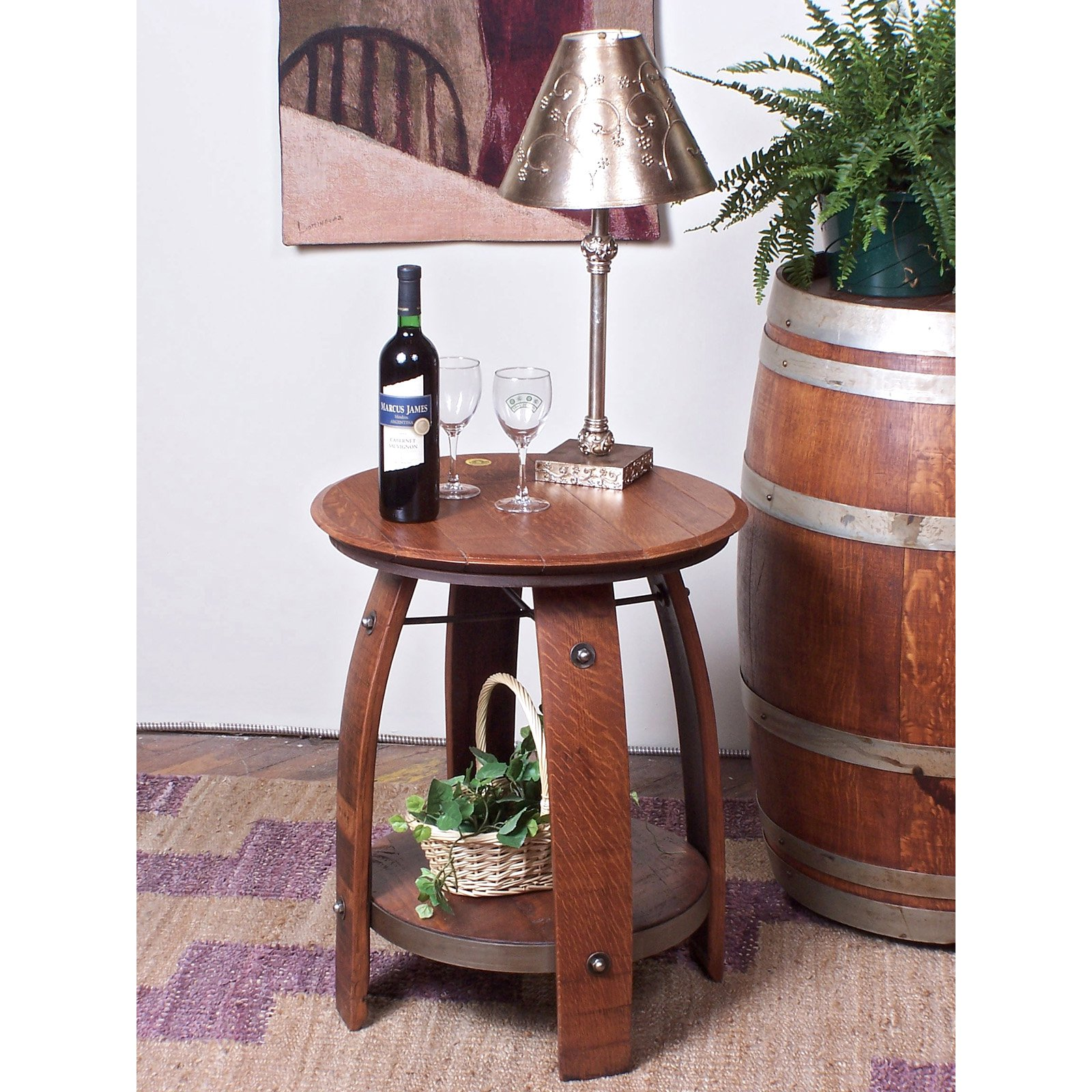 2 Day Designs Reclaimed Wine Furniture Barrel Side Table with Shelf