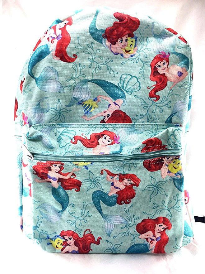 Princess Little Mermaid Allover Print 16 Girls Large School Backpack