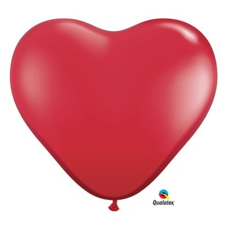 Burton & Burton 3' Ruby Red Heart Shape Balloon, Pack Of 2 - Red Heart Balloons
