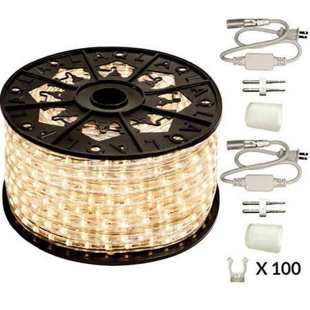 120v Led Rope Light (120V Dimmable LED Warm White 513PRO Series Rope Light - 150ft Premium Kit )