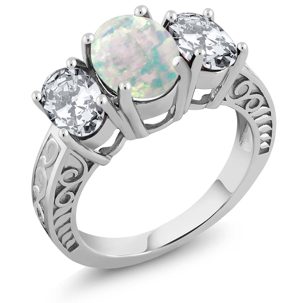 3.60 Ct Oval Cabochon White Simulated Opal 925 Sterling Silver Ring by