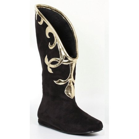 Black Boots With Gold Trim (Ellie Shoes E-103-Alba Flat Microfiber Boot with Gold Trim 8 /)
