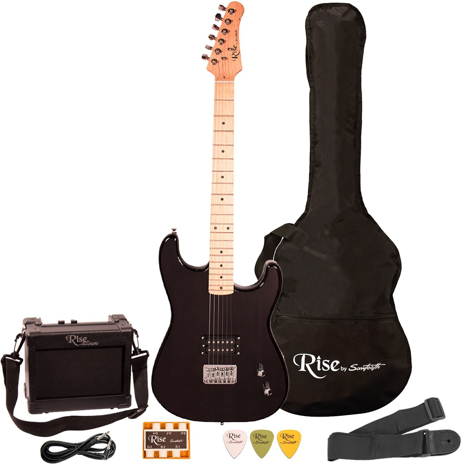 Rise by Sawtooth Right-Handed Full Size Beginner's Electric Guitar with Gig Bag & Accessories, Transparent Black