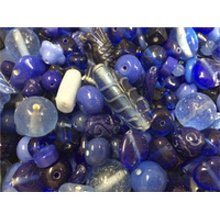 Stanislaus Glass Bead Mix, 1 Pound, Shades of - Blue Beads