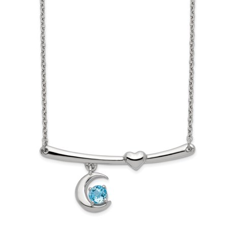 Swiss Blue Topaz Half Moon And Heart Bar Necklace In 925 Sterling Silver 4x35mm 18 Inches Blue Moon Silver Bars