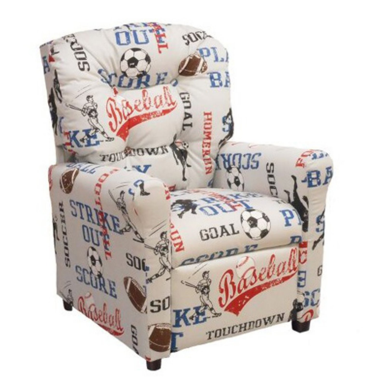 Brazil Furniture 4-Button Back Child Recliner - Sports American Blue
