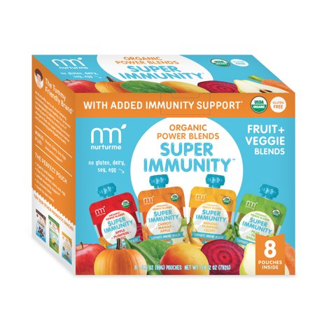 NurturMe Fruits and Veggies Stage 2 Power Blend Organic Baby Food Variety Pack 3.5 Ounce Pouch - 8