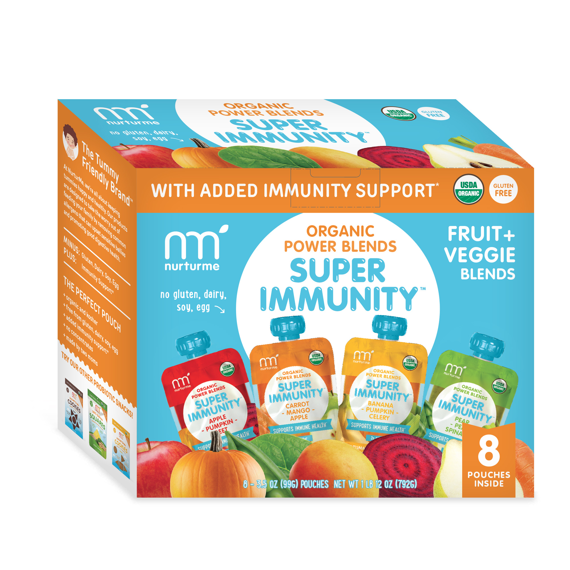 NurturMe Fruits and Veggies Stage 2 Power Blend Organic Baby Food Variety Pack 3.5 Ounce Pouch - 8 Pack