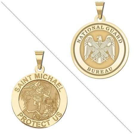 Saint Michael Doubledside NATIONAL GUARD Religious Medal - 1 Inch Size of a Quarter - Sterling Silver