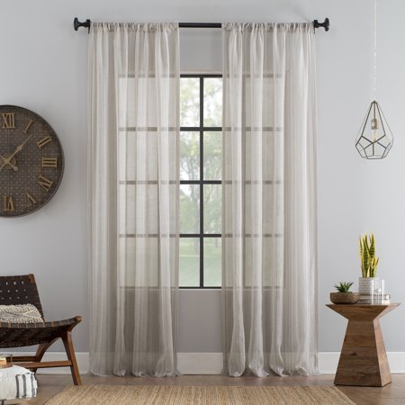 Archaeo Ticking Stripe Textured Cotton Blend Sheer Curtain (Timeless Ticking Stripe)