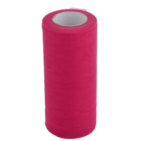 Wedding Polyester DIY Party Decor Tulle Spool Roll Fuchsia 6 Inch x 25 Yards