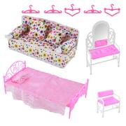 BSAH 8 Items Princess Furniture Accessories Kids Gift 1x Bed Set + 1x Sofa Set + 1x Dresser Set + 5x Barbie Doll Hangers