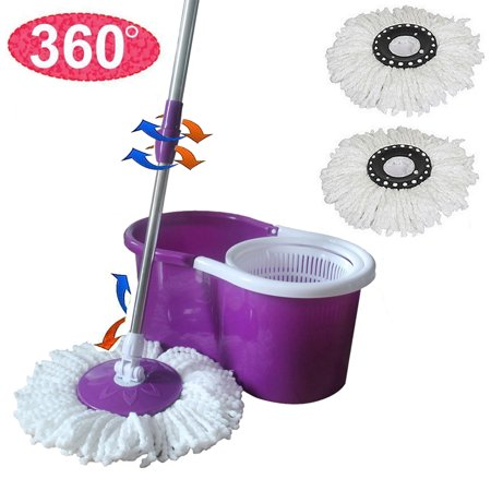 Top Knobs Spin Mop and Bucket System – 360° Self Wringing Spinning Mop with Stackable Bucket On Wheels and 2 Machine Washable Microfiber Mop Heads, Purple