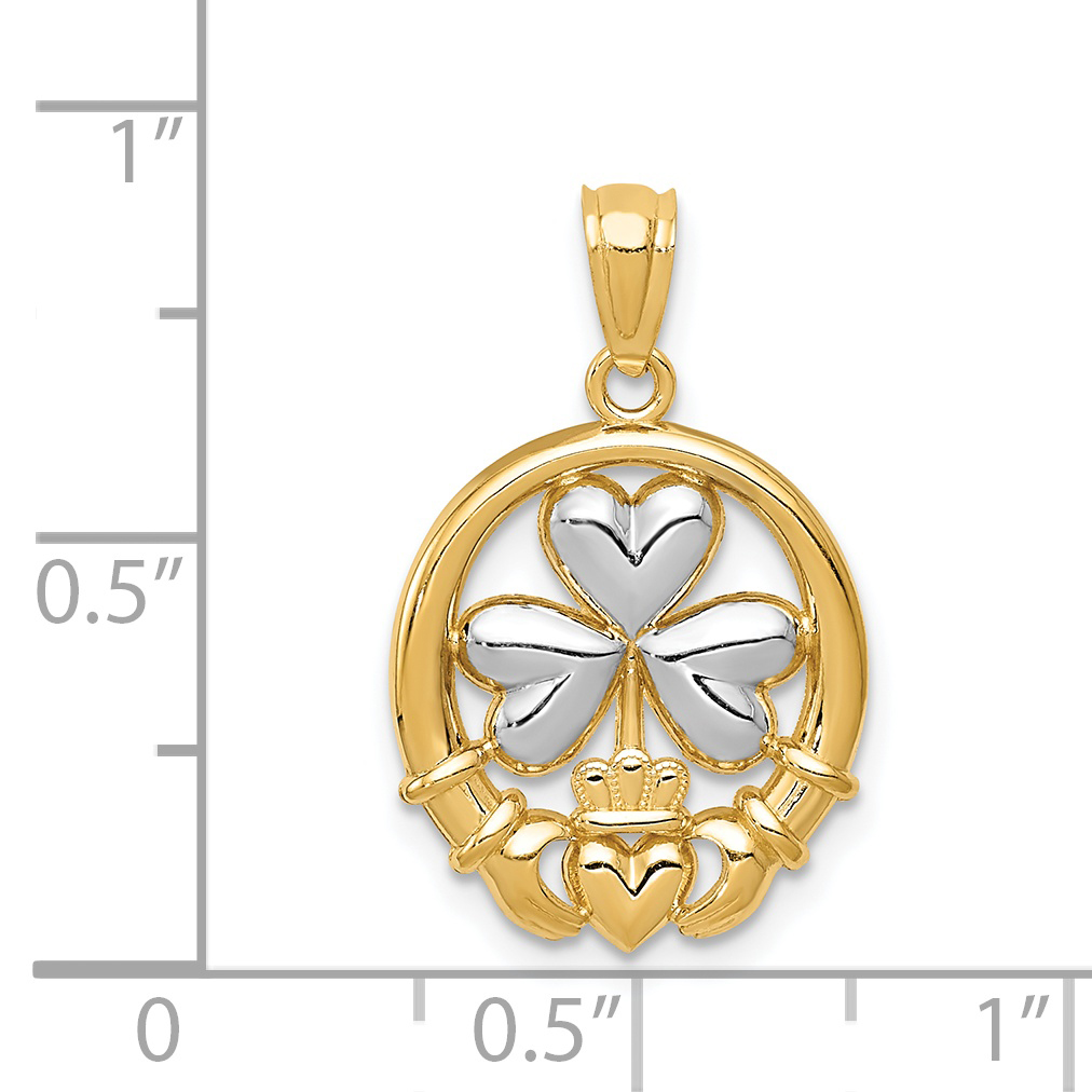 14k Yellow Gold Irish Claddagh Celtic Knot Pendant Charm Necklace Fine Jewelry Gifts For Women For Her