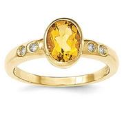 14k Citrine/Diamond Bezel-set Ring size 13.75